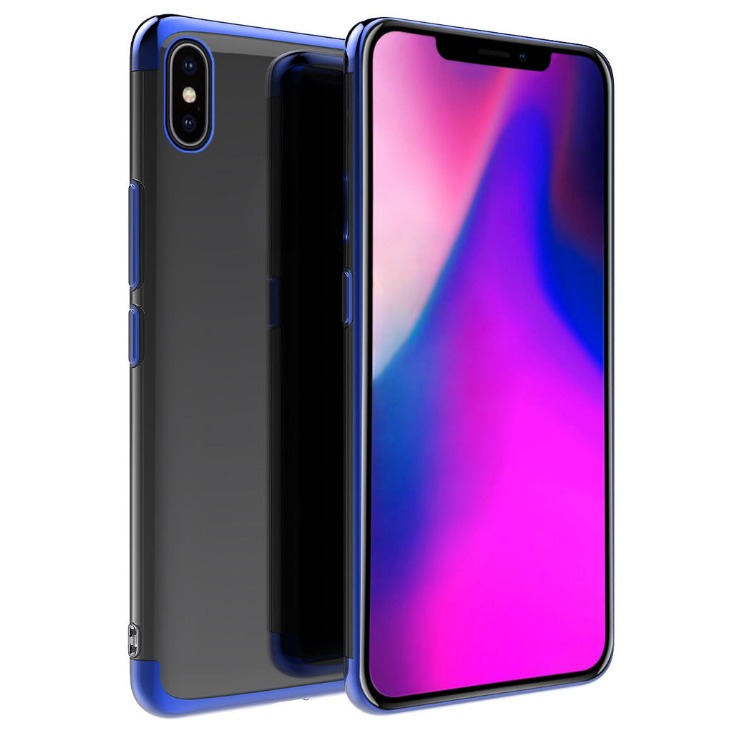iPhone Xs Max Transparent Case Soft TPU Ultra-thin Lightweight Dropproof Phone Cover Blue