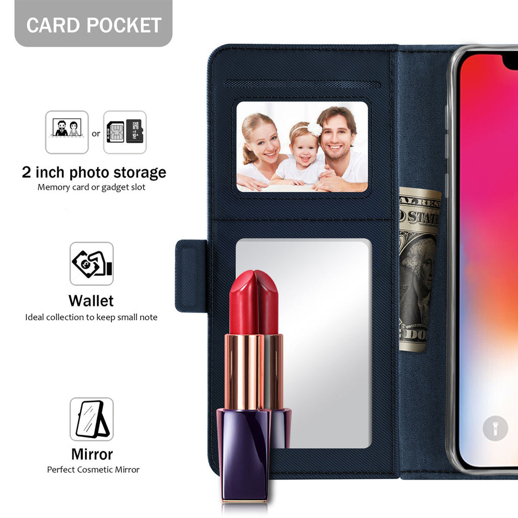 iPhone Xs Max Wallet Case Luxury PU Leather Flip Cover with Mirror and Card Slots Blue