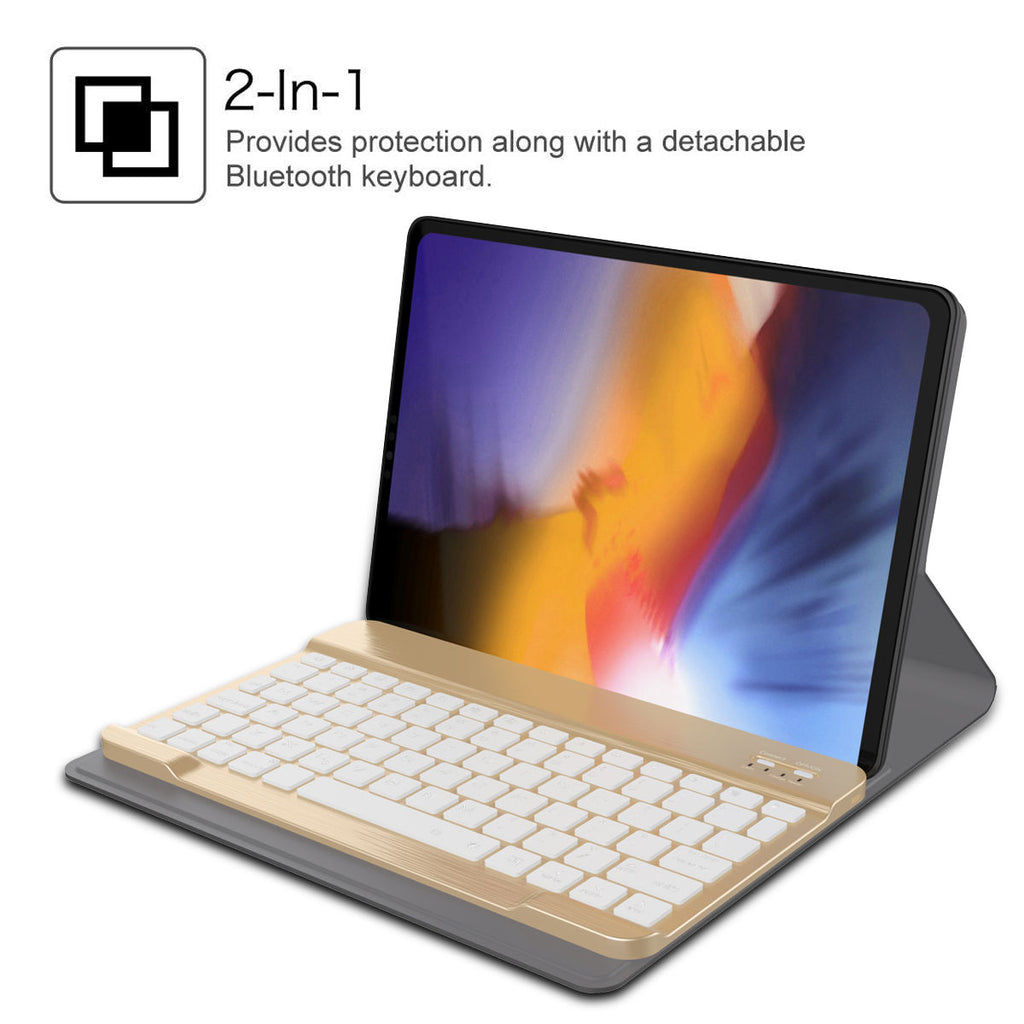 iPad Pro 11 Keyboard Case Leather with 7 Colors Backlight Wireless USA Keyboard Golden