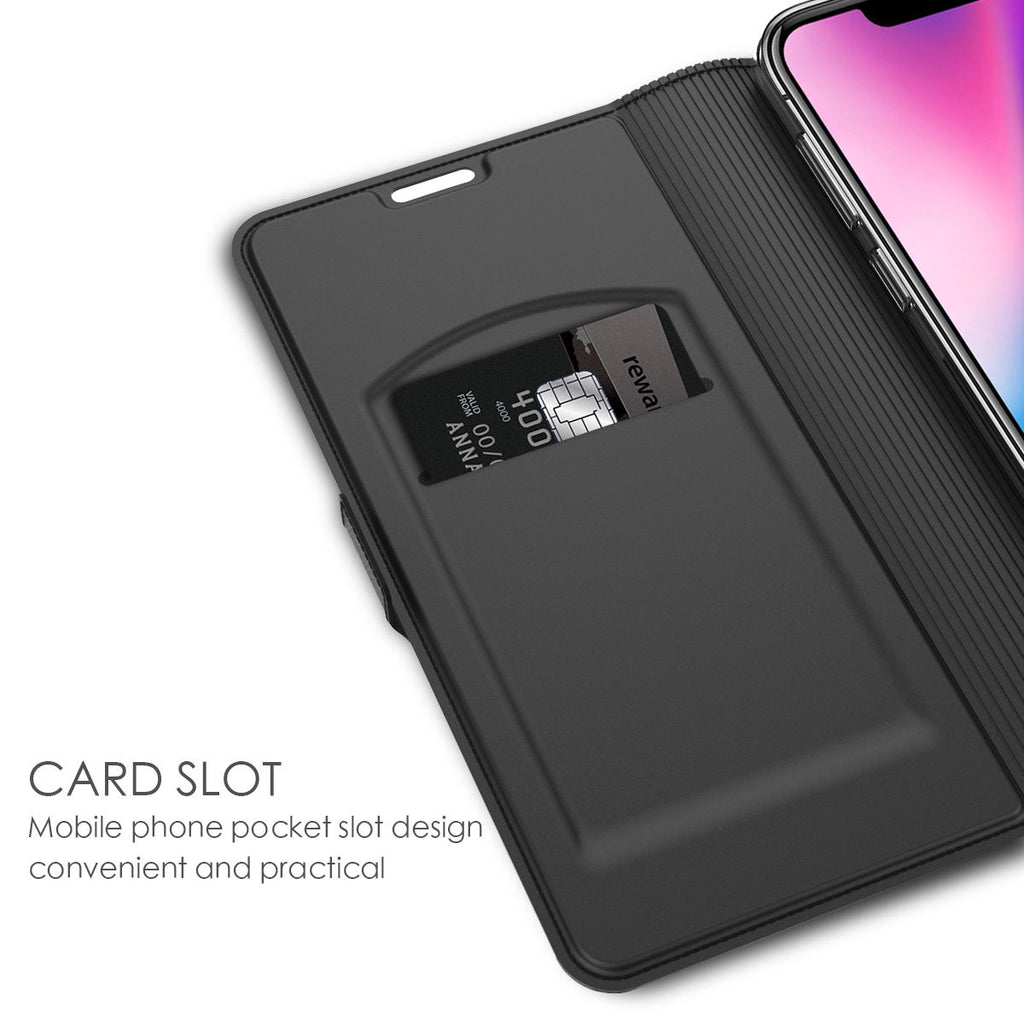 iPhone Xs Max Leather Case Flip Wallet Case Full Body Pocket Cover with Card Holders Black