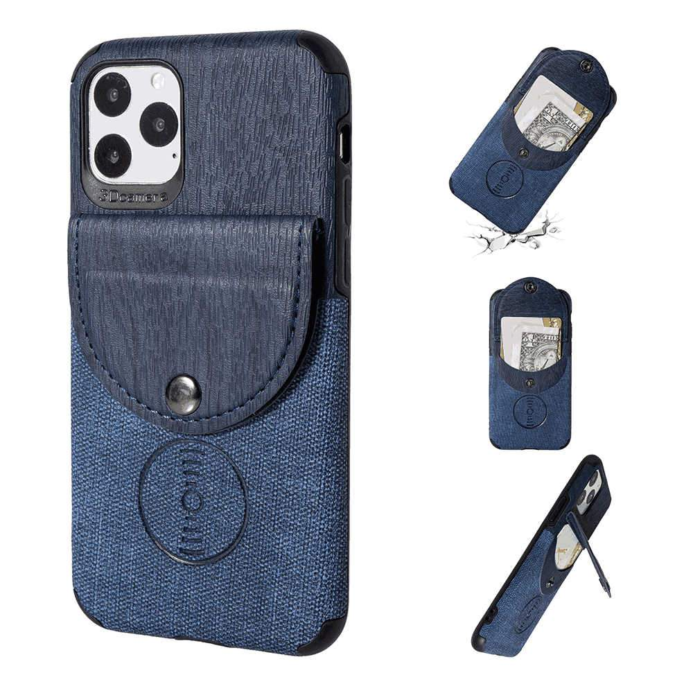 iPhone 11 Pro 5.8 Inch Case Contrast Wood Grain Leather Wallet Cover with Credit Card Slot Blue