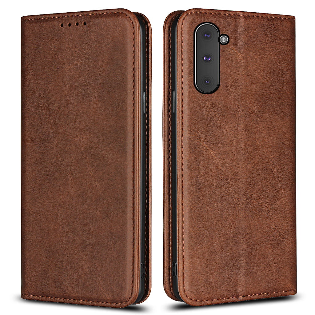 Case for Galaxy Note 10 Leather Wallet with Kickstand Folio Flip Case Brown