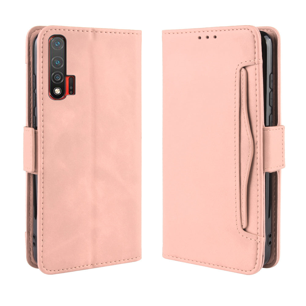 Huawei Nova 6 Leather Wallet Case Multi-card Slots Case Magnetic Flip Stand Cover Pink