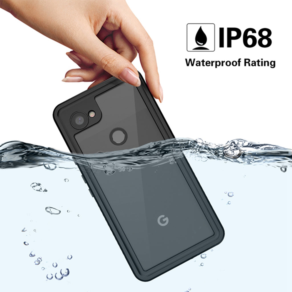 Google Pixel 3a Waterproof Case Full Sealed Waterproof Underwater Cover with Screen Protector Black