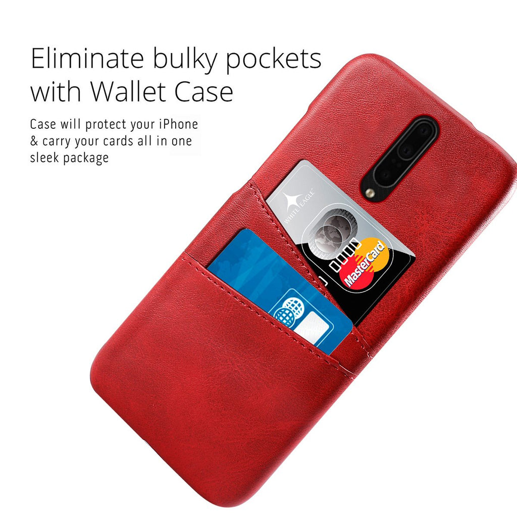 Women OnePlus 7T Pro Case PU Wallet with 2 Card Slots Armor Scrape Proof case Red