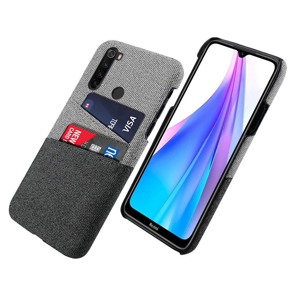 Xiaomi Redmi Note 8T Case Fabric Shockproof Protection Phone Cover with Cardholder Black