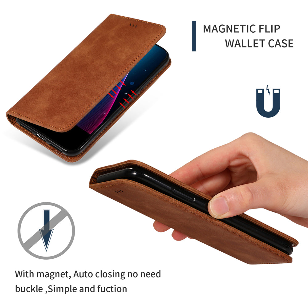 iPhone 11 pro max Wallet Case Card Slots Business Leather Case with Kickstand Brown