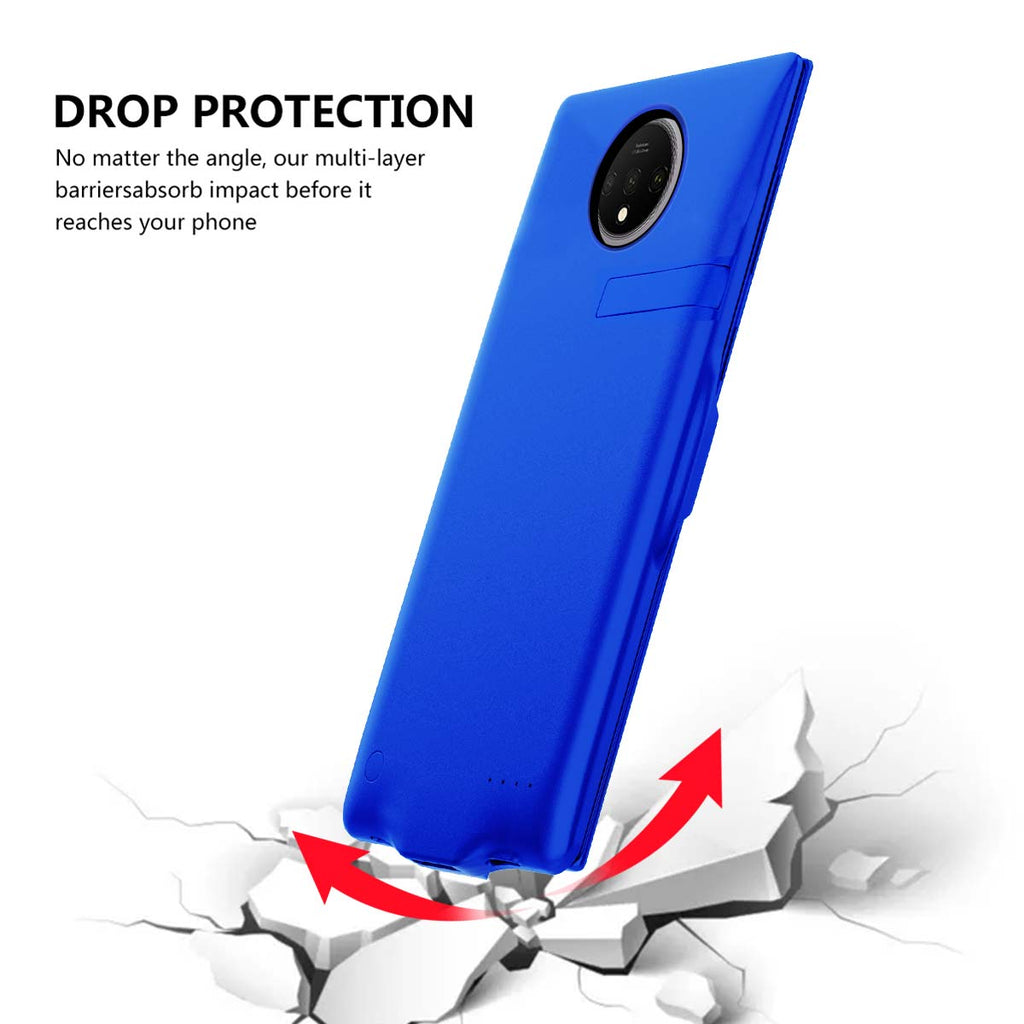 Oneplus 7T Battery Case 6500mah Extended Battery Shock Protection Charging Case Blue