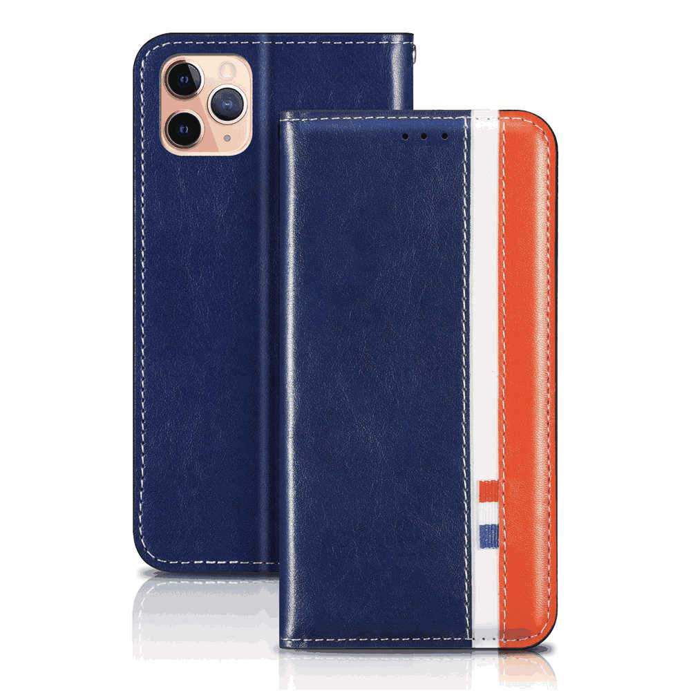 iPhone 11 Pro Leather Case Flip Stand Case with Kickstand Card Slots Wallet Case City Series Blue
