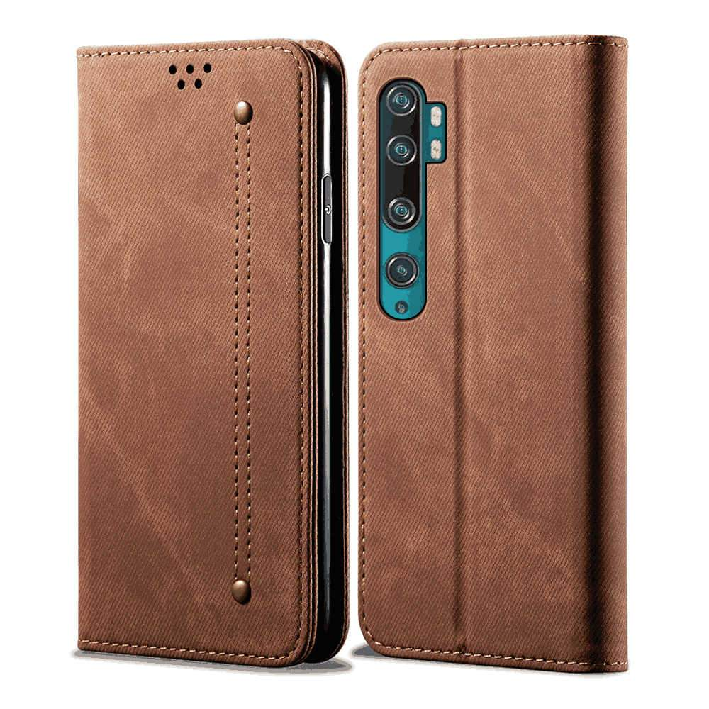 Xiaomi mi note 10 Wallet Case Cowhide Leather Wallet Case Magnetic Closure with Card Slots Brown