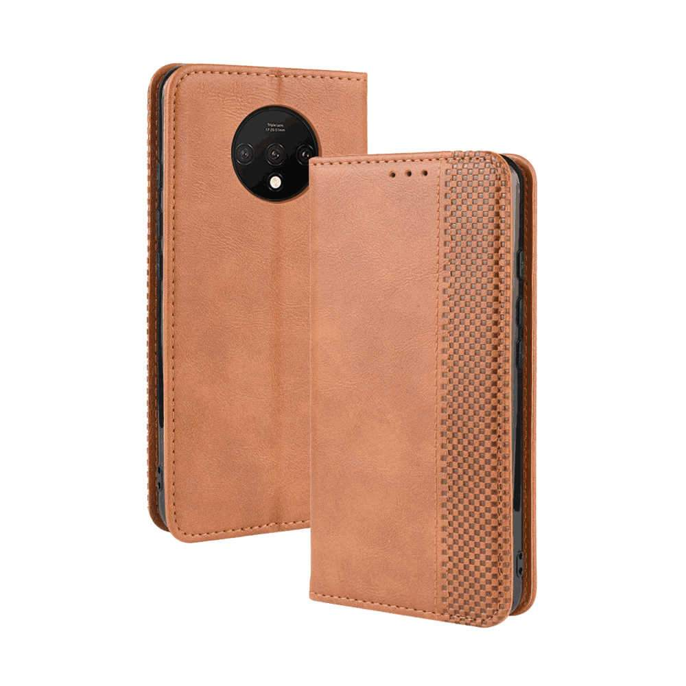 Oneplus 7T Wallet Case Vintage Flip Stand Cover with Credit Card Holder Leather Case Brown