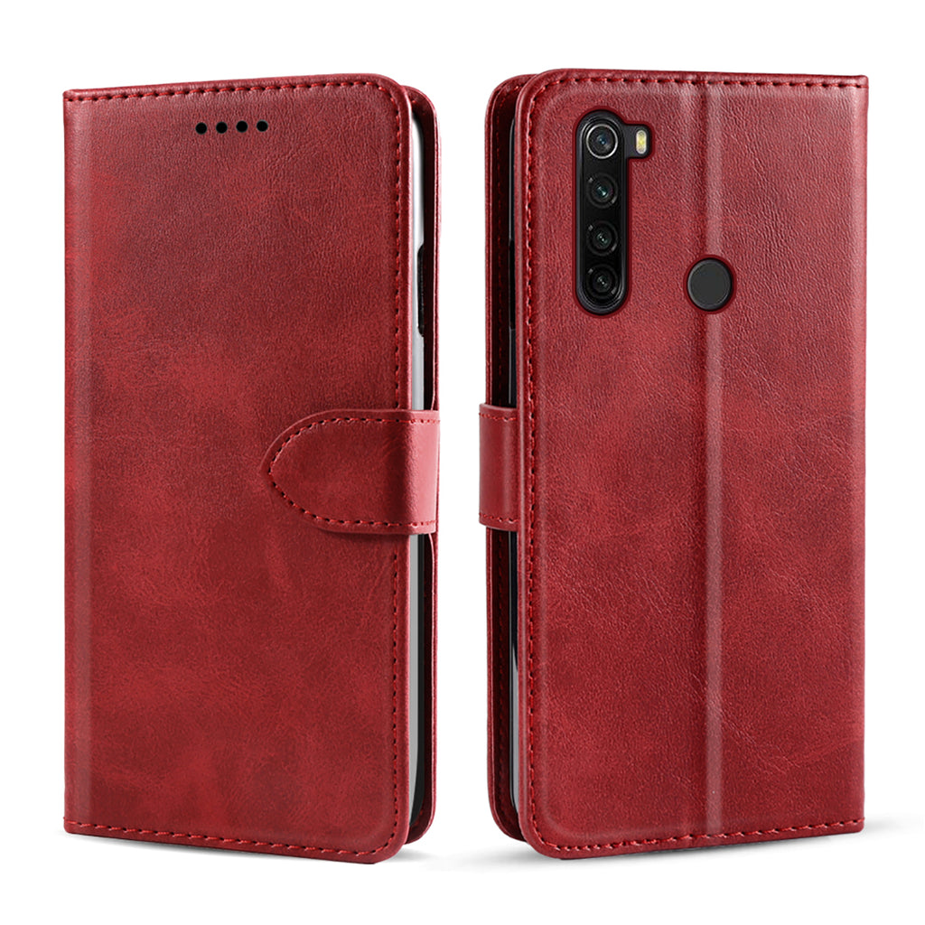 Xiaomi Redmi Note 8T Wallet Case Ultra Thin PU Leather Stand Cover with Card Slots Red