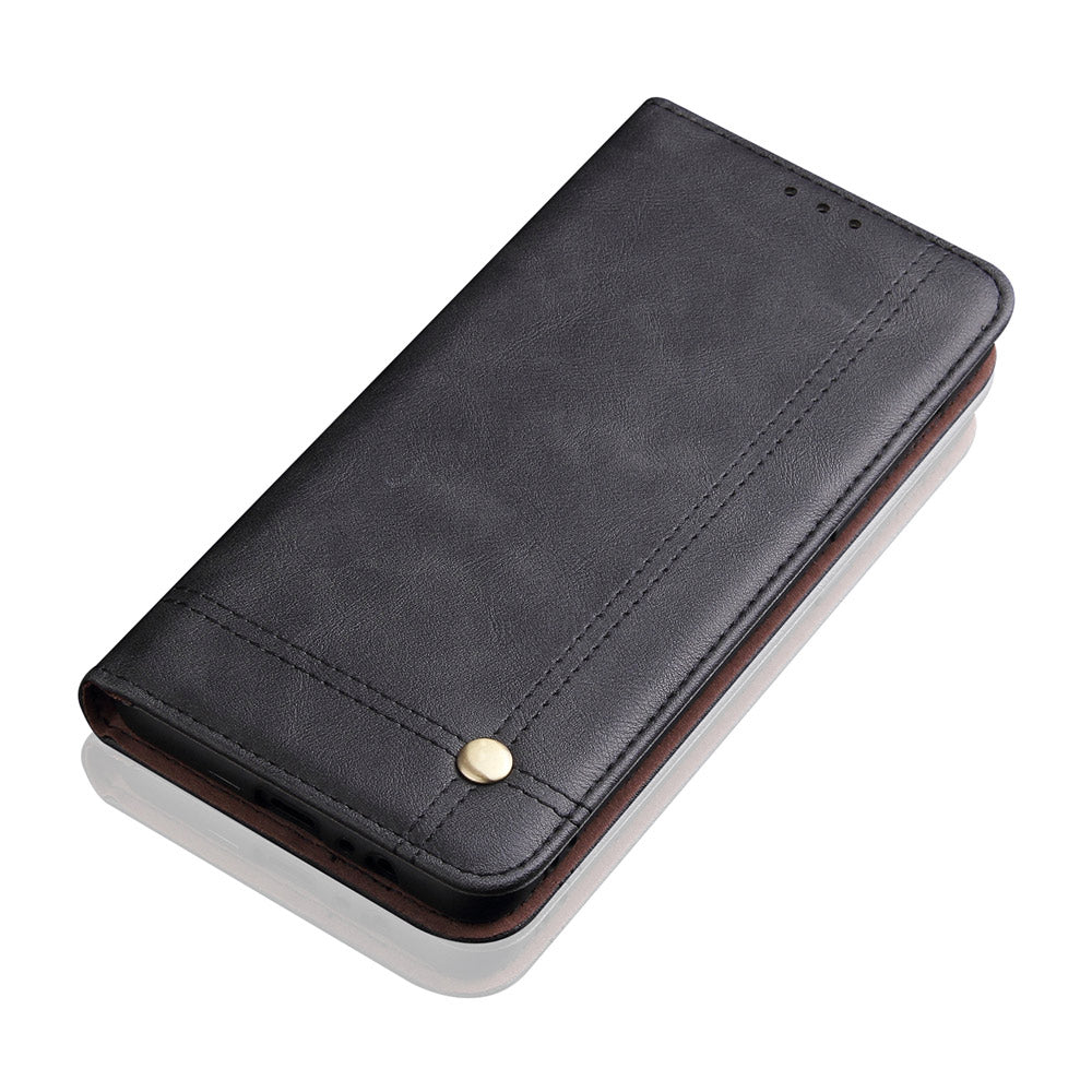 iPhone 11 Wallet Case Retro Crazy Horse Leather Flip Stand with Card Slots Black