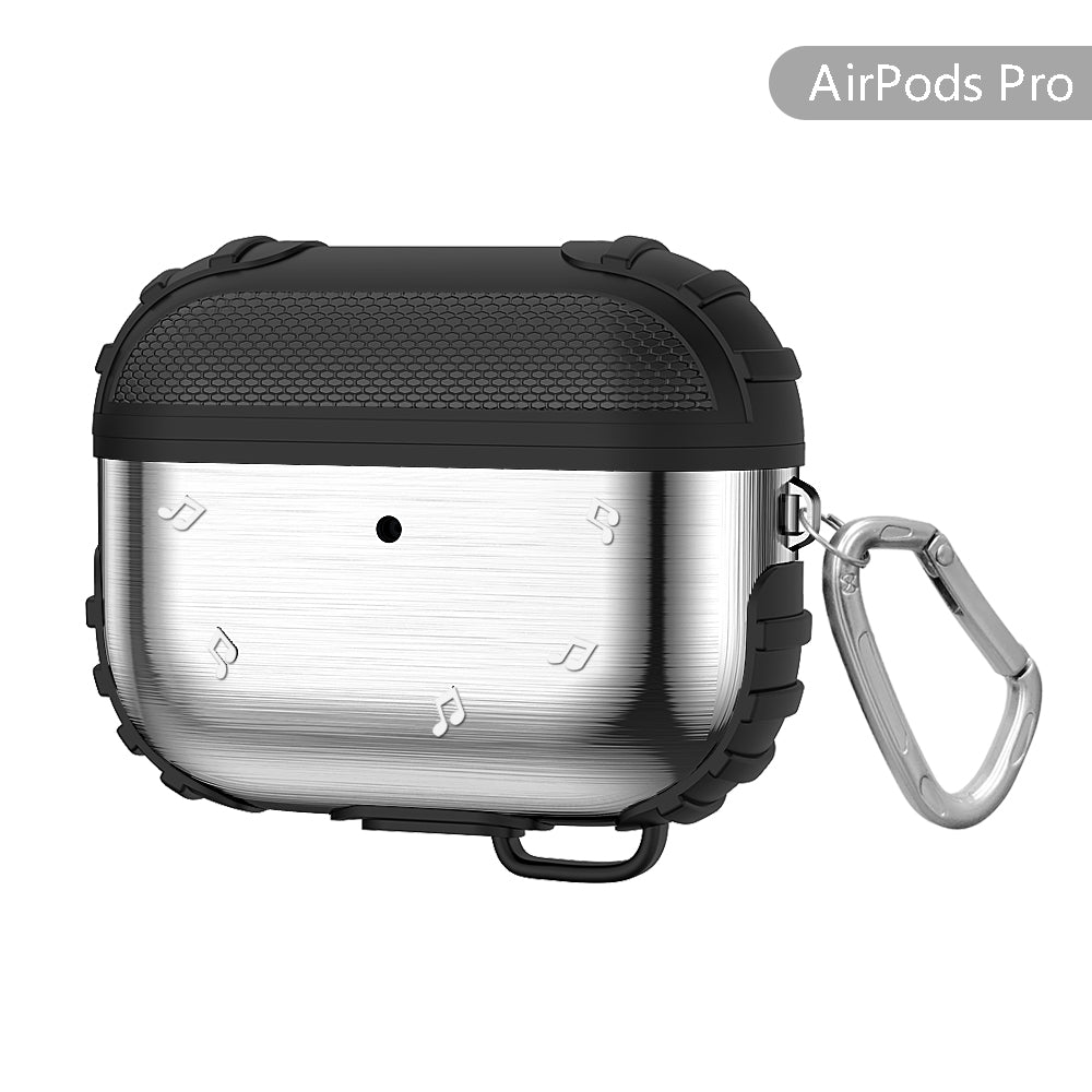 Silicone AirPods Pro Case Metal Holder Anti-Lost Case with Keychain for Airpods Pro Charging Case Silver