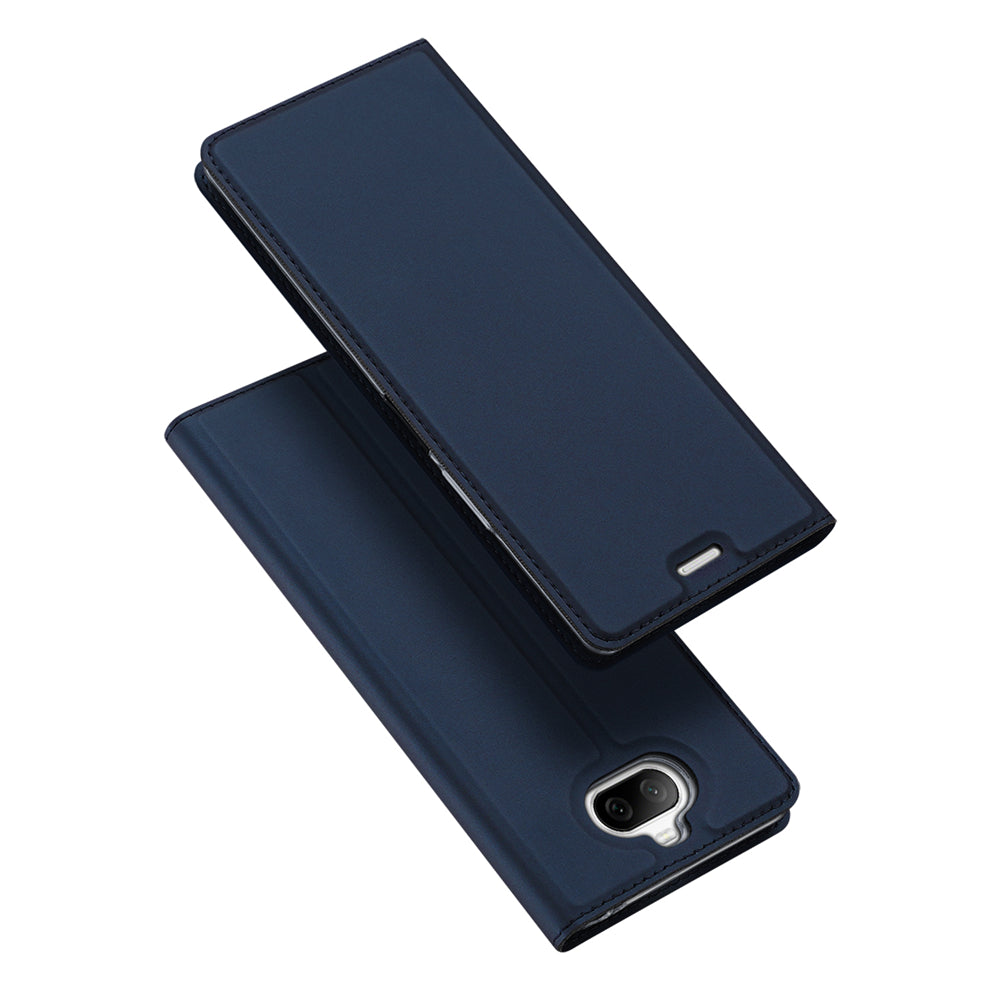 Sony Xperia 8 Leather Case with Card Slot Magnetic Closure Business Flip Wallet Case Blue
