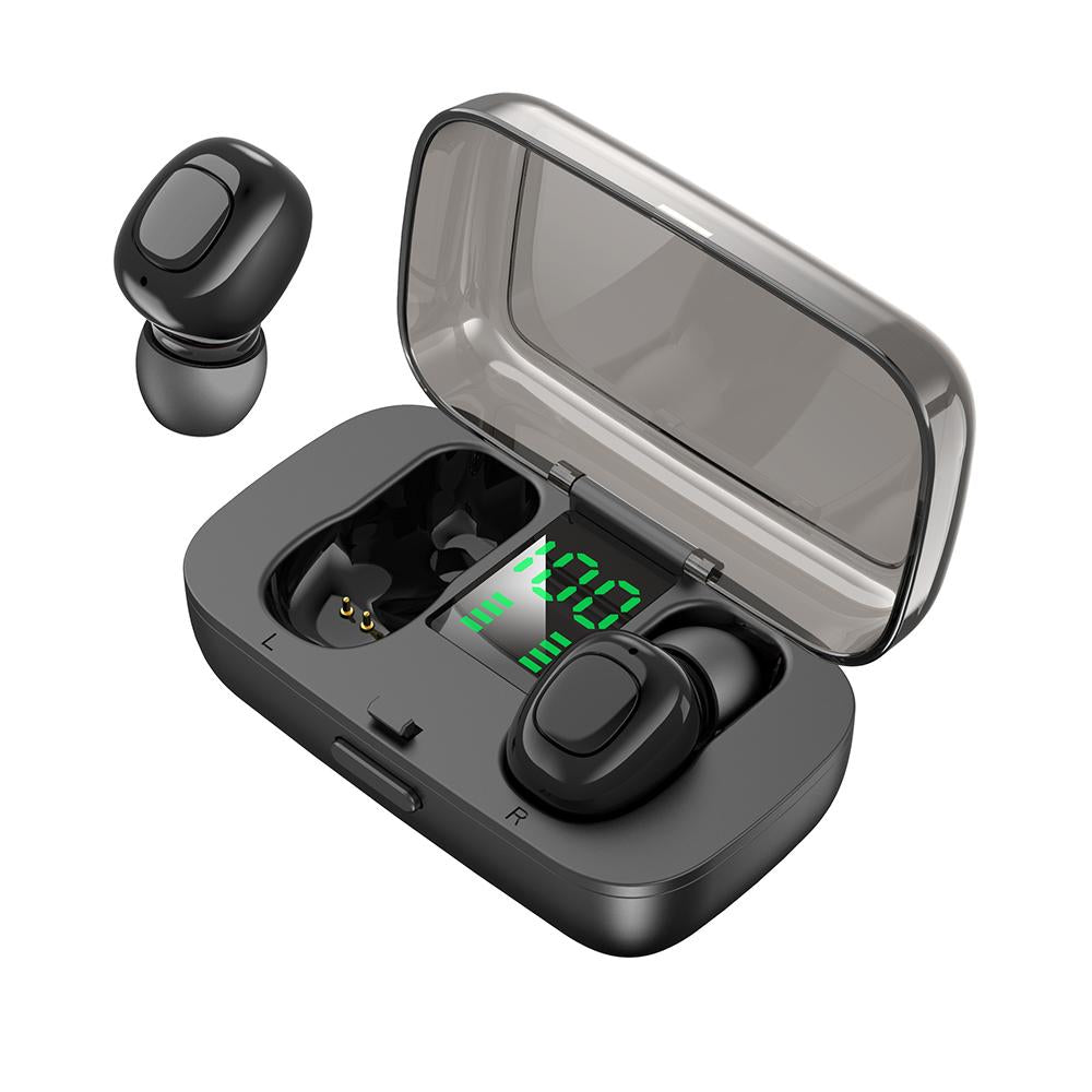 TWS Wireless Earbuds Bluetooth Headphones 5.0 Stereo Hi-Fi Sound LED Battery Display Built-in Mic Headset Black