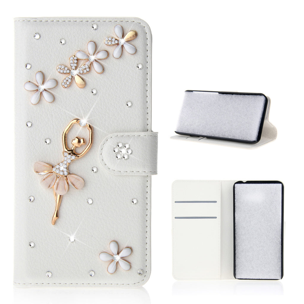 Wallet Case for Realme X2 Bling Diamond Leather Purse Card Slot Kickstand Case (Dance Girl)