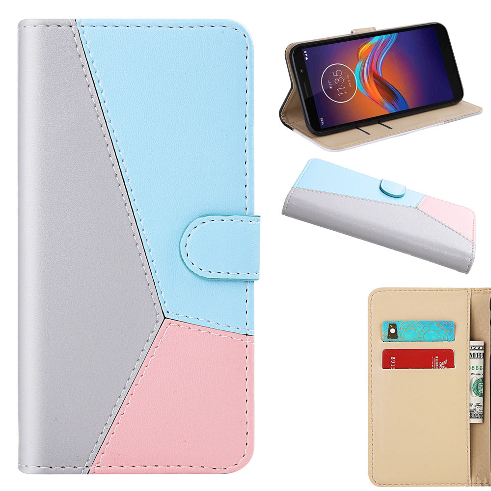 Moto E6 Play Leather Case Card Holding Case Magnetic Closure Wallet Flip Cover Grey