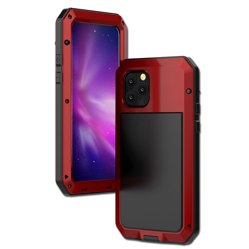 iPhone 11 pro max Case Full Sealed Metal Shell Shockproof Cover Built-in Screen Protector Red