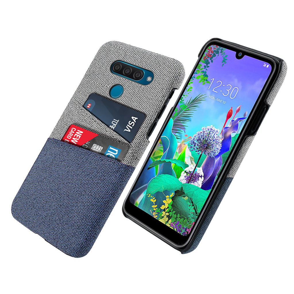 LG Q60 Case with Card Slots Phone Protective Case Fabric Cover Blue