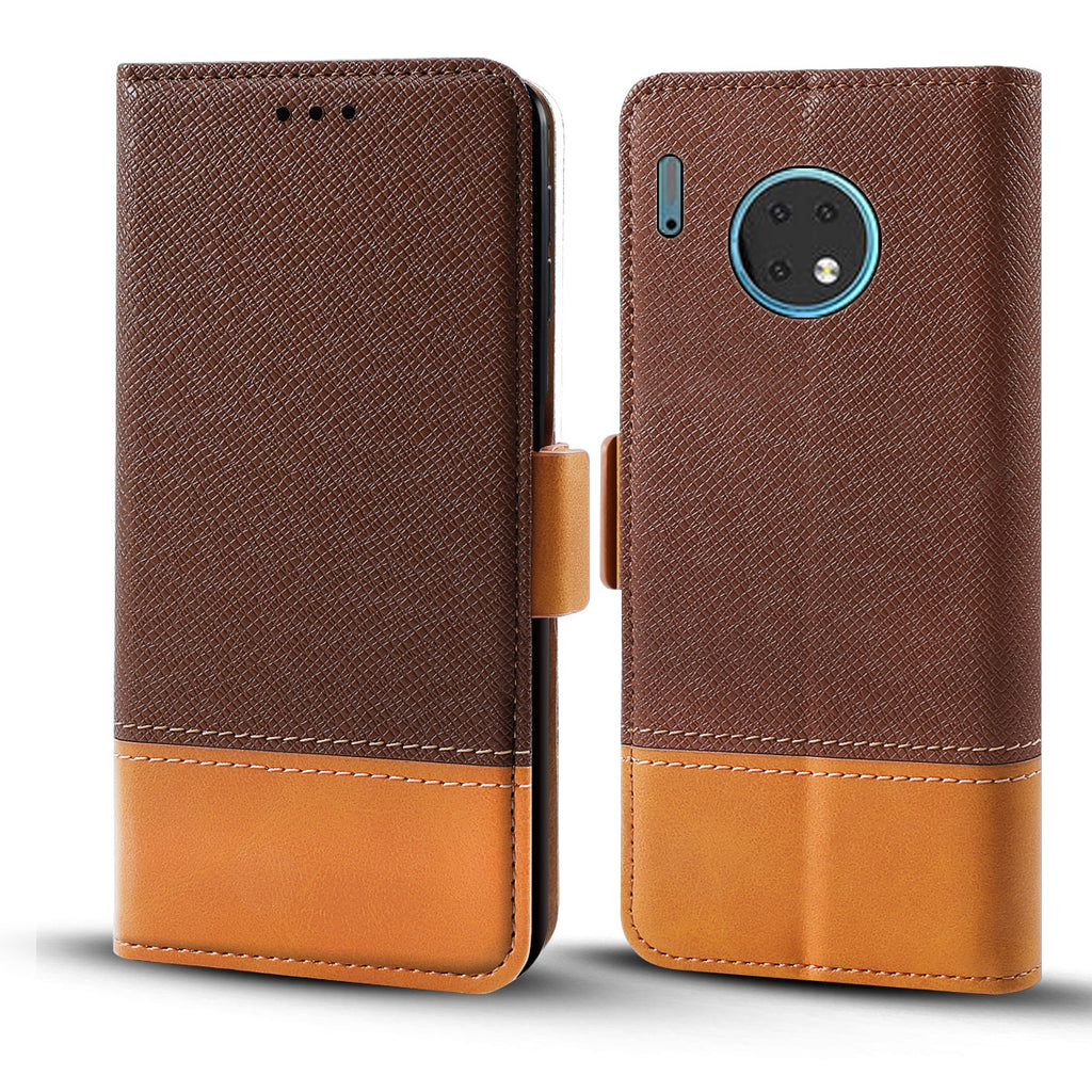 Huawei Mate 30 Wallet Case with Kickstand & Card Slots Leather Magnetic Flip Cover Brown