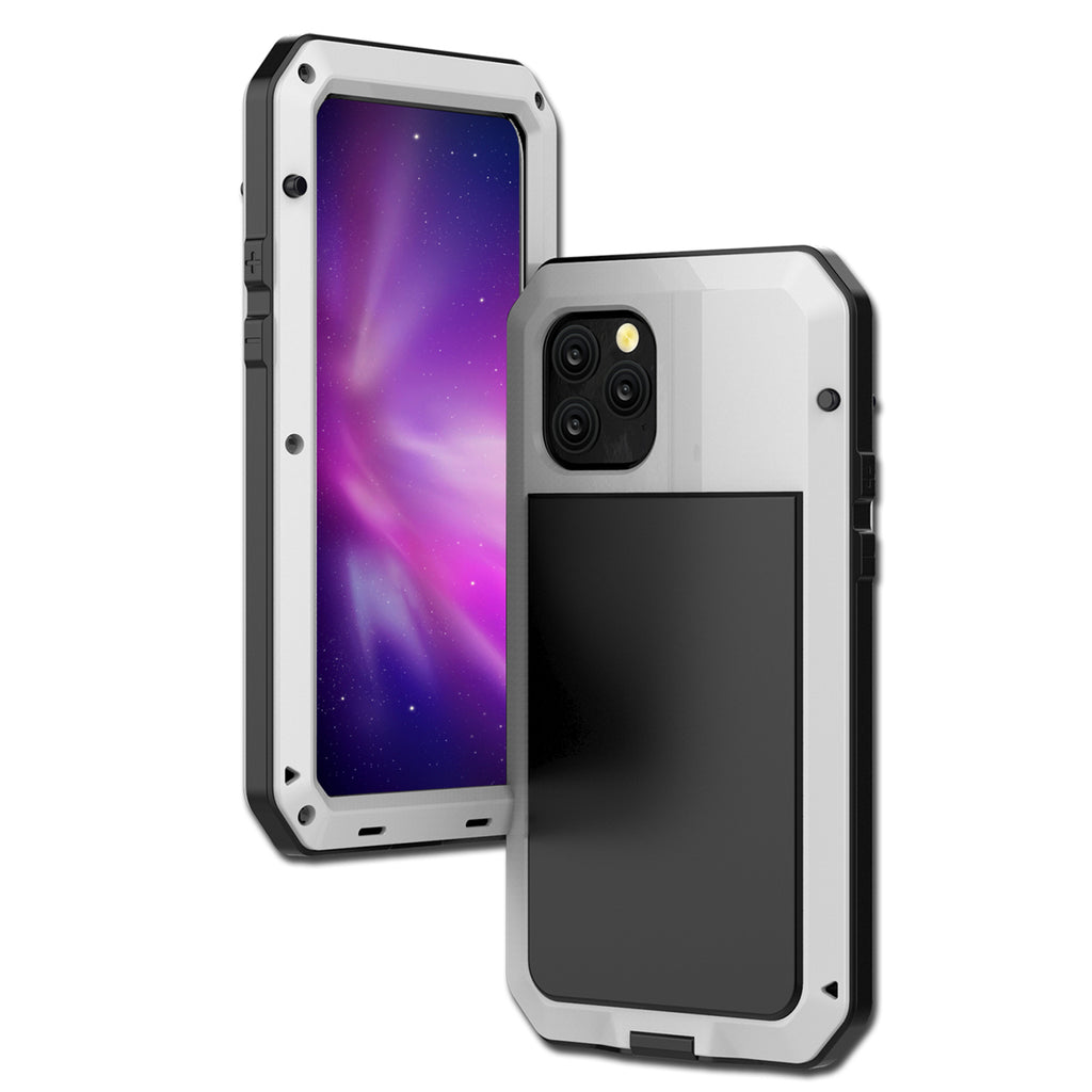 iPhone 11 Case Full Body Shockproof Waterproof Metal Cover Case Built-in Screen Protector White
