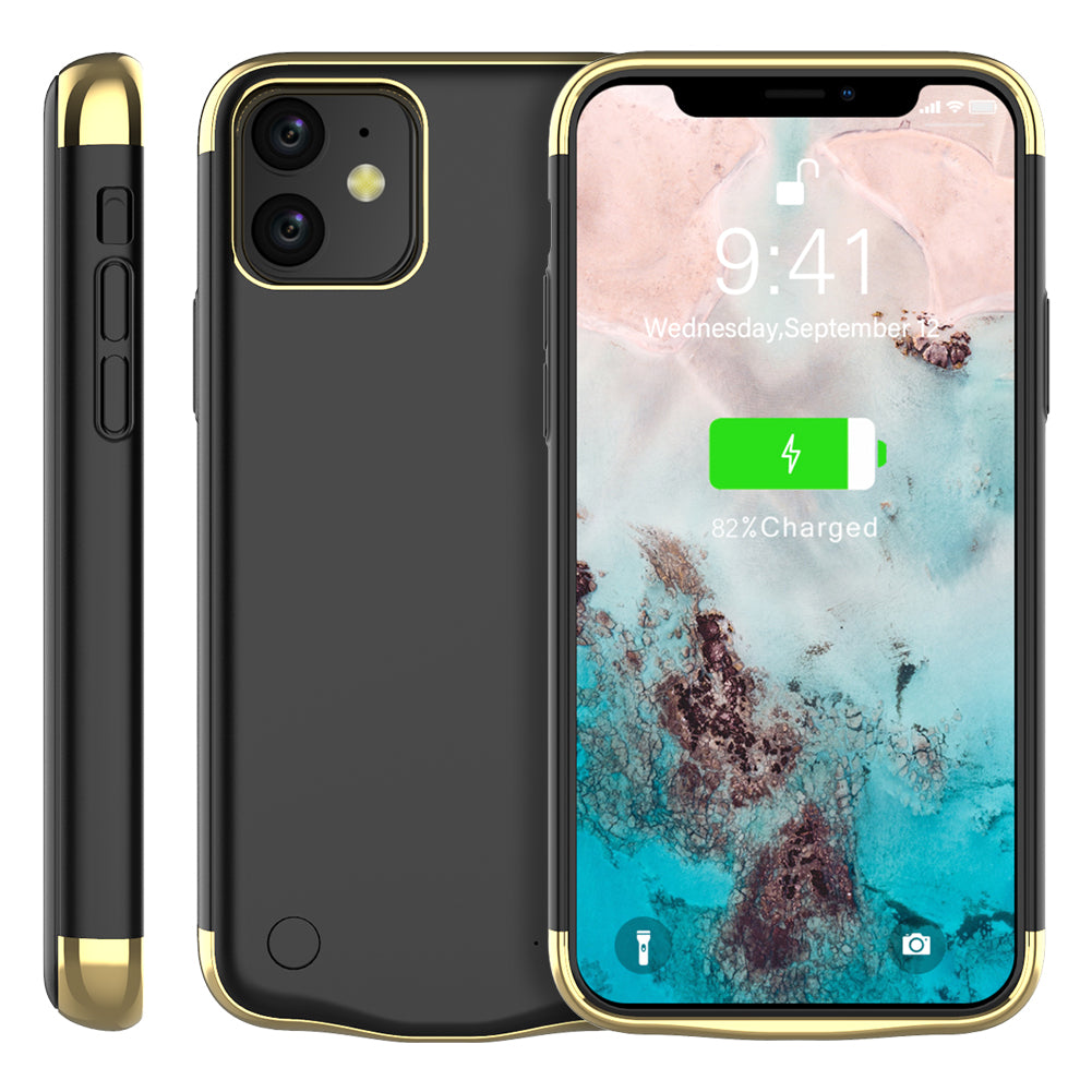 iPhone 11 battery charging case 6000mah portable battery power bank protective cover black