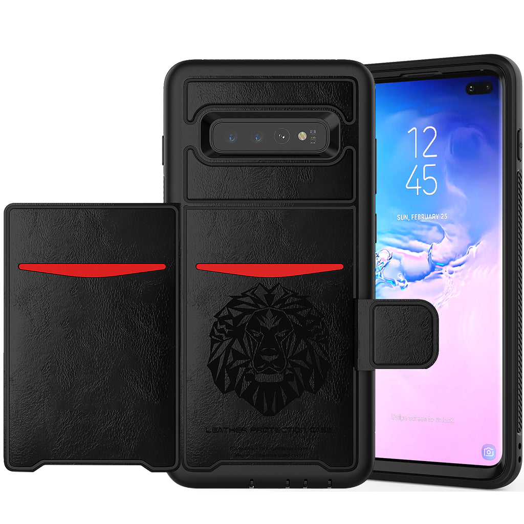 Case for Galaxy S10 Plus Rugged Flip Wallet Case with Credit Card Slots Black