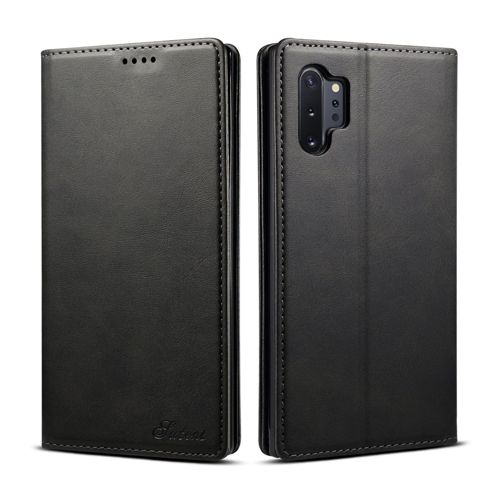 Samsung Galaxy Note 10 Plus 5G Wallet Case Cowhide Concise Leather Cover with Card Holder Black