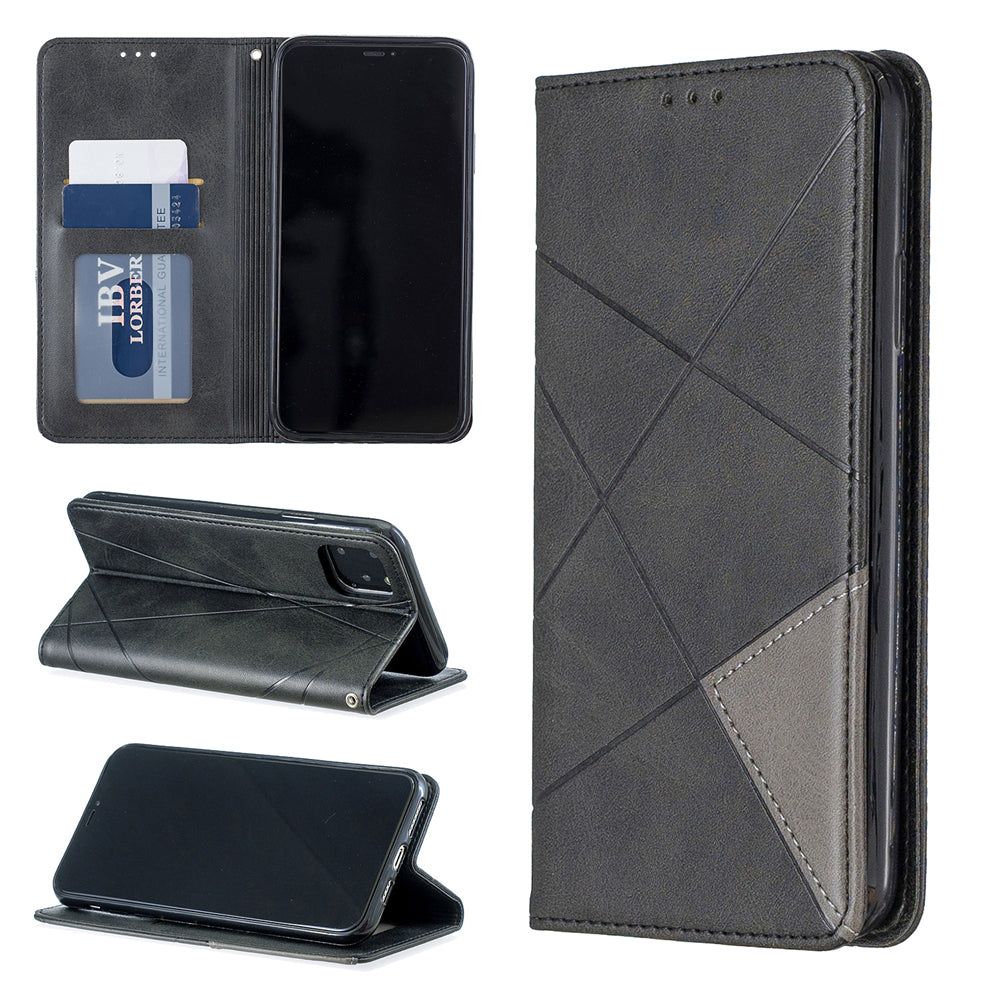 iPhone 11 pro max Wallet Case Built-in Card Slots Diamond Design Leather Case Black