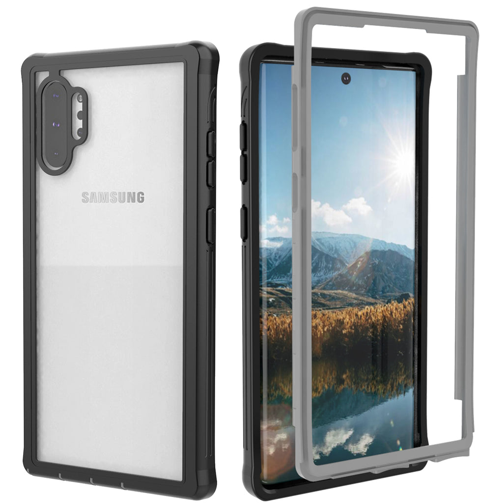 Galaxy Note 10 Plus Case Full Sealed Shockproof Case Built-in Screen Protector Black-grey