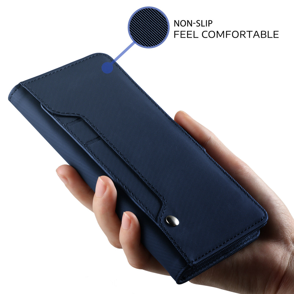 OnePlus 6T Wallet Case PU Leather Flip Case Stand Cover with Mirror and Card Slots Blue