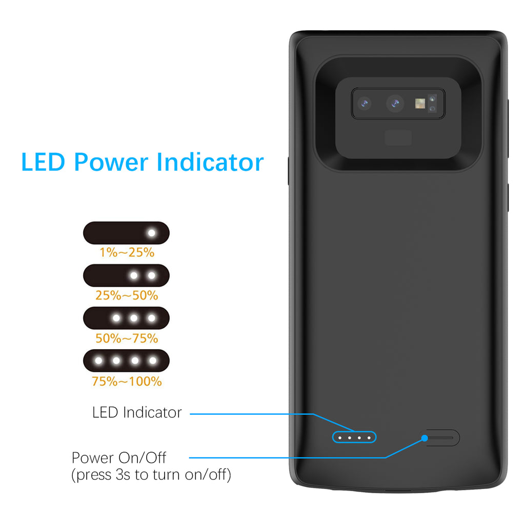 Samsung Galaxy Note 9 Battery Case 5000mAh Charger Cover Black
