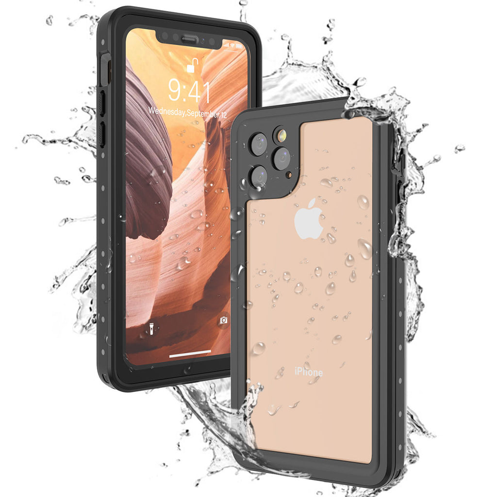 iPhone 11 pro max waterproof case built-in screen protector IP68 diving swimming phone cover black