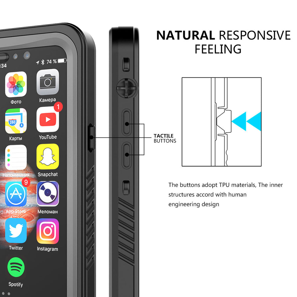iPhone X Waterproof Case Dustproof Shell for iPhone Xs Black