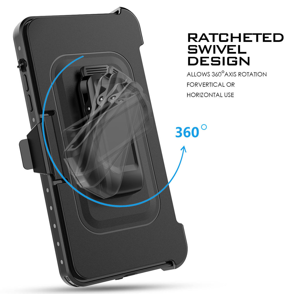 iPhone 8 iPhone 7 Waterproof Case 4.7 inch Dustproof Shockproof Kickstand Swivel Belt Clip Holster Cover Black