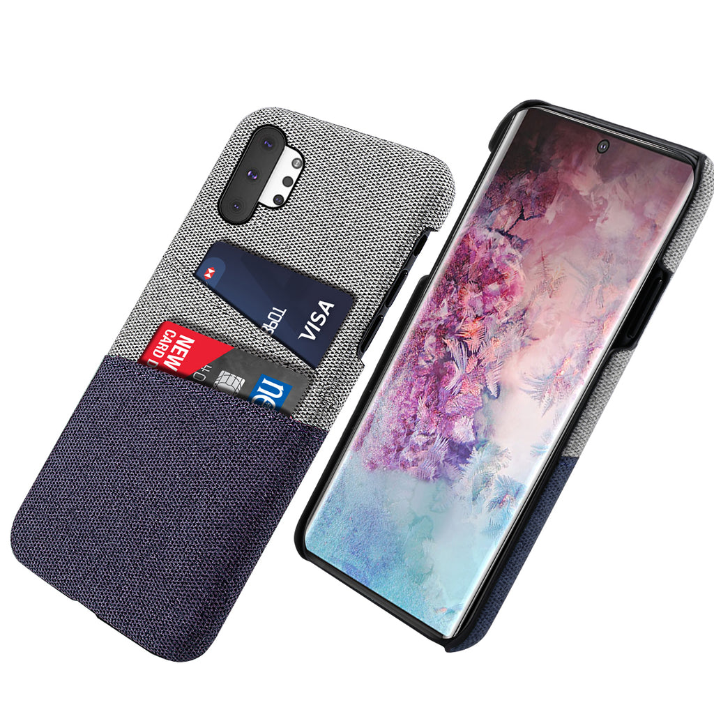 Cases for Galaxy Note 10 Plus 5G with Credit Card Holder Fabric Case for Men Blue