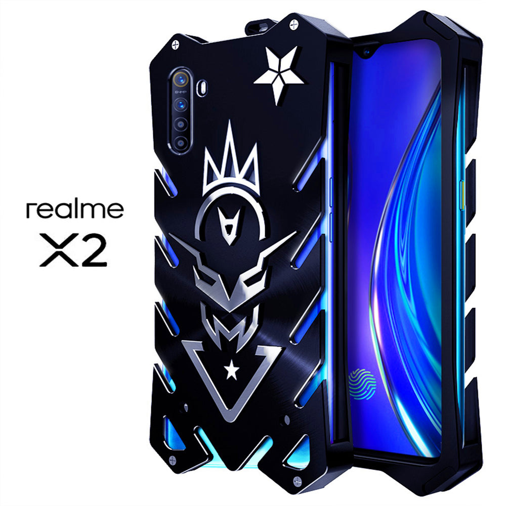 Oppo Realme X2 Case Military Anti Drop Protective Phone Cover Aluminium Alloy Ccase Black