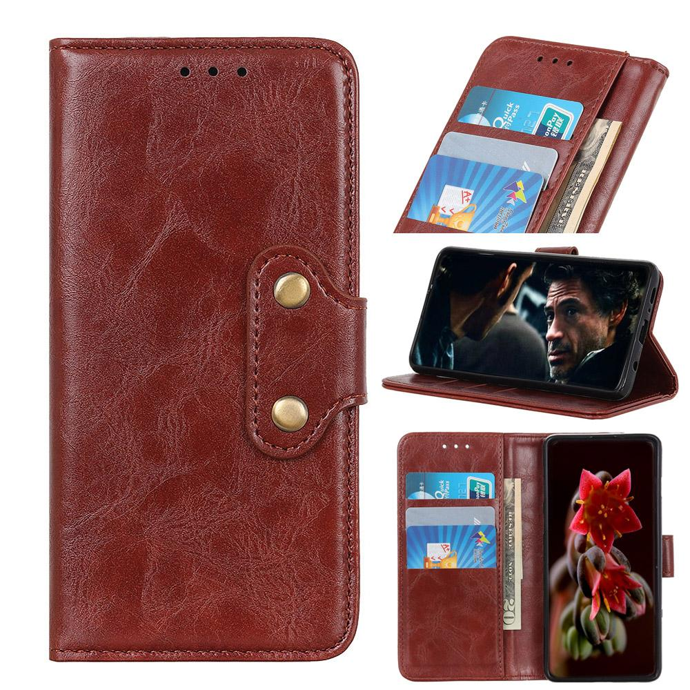Leather Case for Galaxy Note 10 plus Flip Cover with Viewing Stand Brown