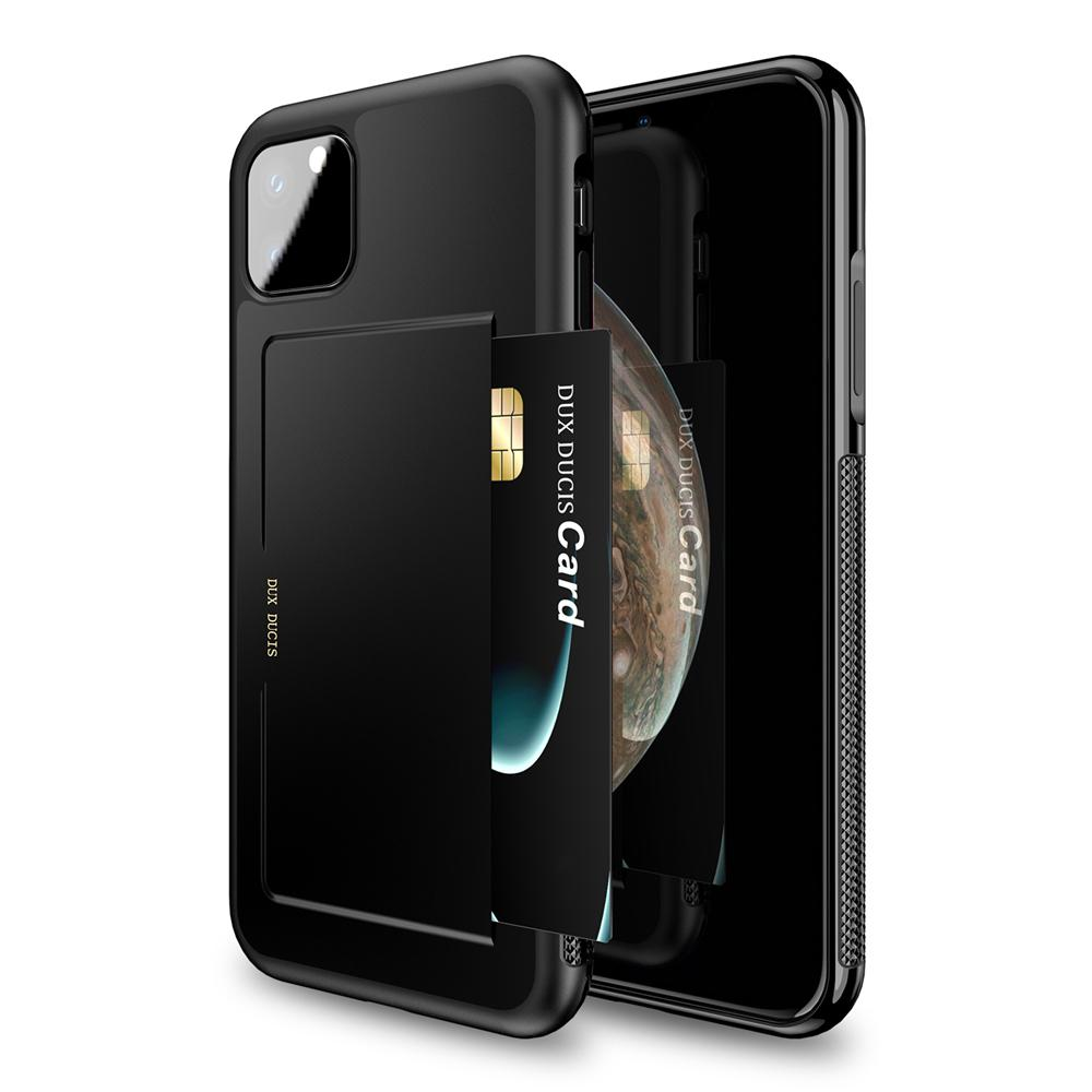 iPhone 11 Pro Case TPU + PC Hybrid Cover Anti-scratch Protective Shell with Card Holder Black