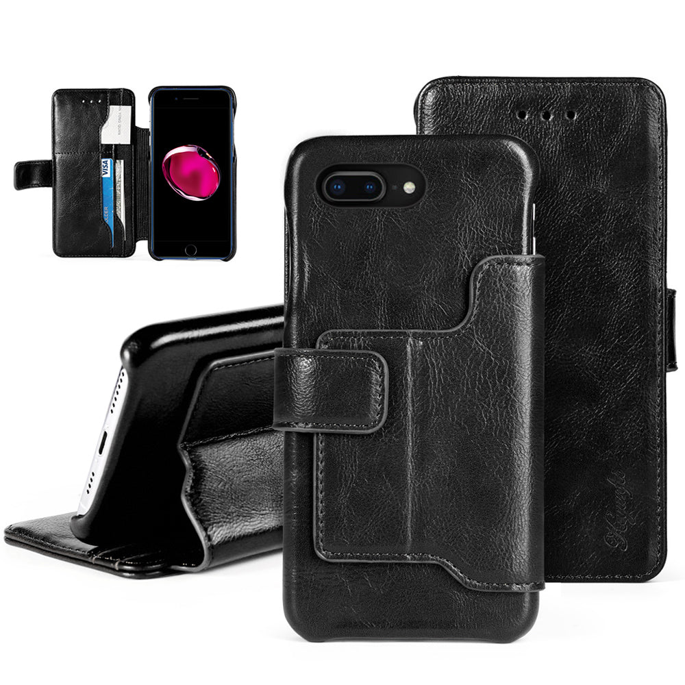 iPhone 7 Plus / 8 Plus Wallet Case with Kickstand and ID Credit Card Slots Black