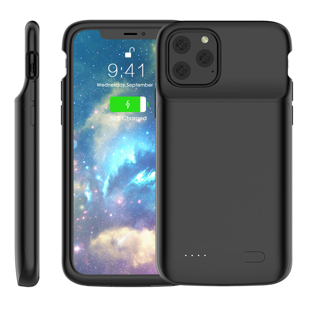 iPhone 11 pro Battery Case 4800mAh Ultra Slim Extended Rechargeable External Battery Pack Black