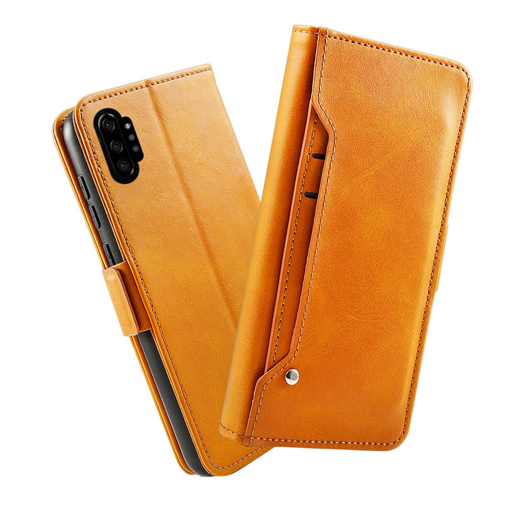 Samsung Galaxy Note 10 plus Leather Cases Flip Stand Cover with Card Holder Orange