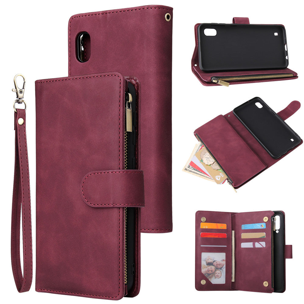 Samsung Galaxy A10 Leather Wallet Case Multi-card Slots Zipper Fold Stand Case Claret