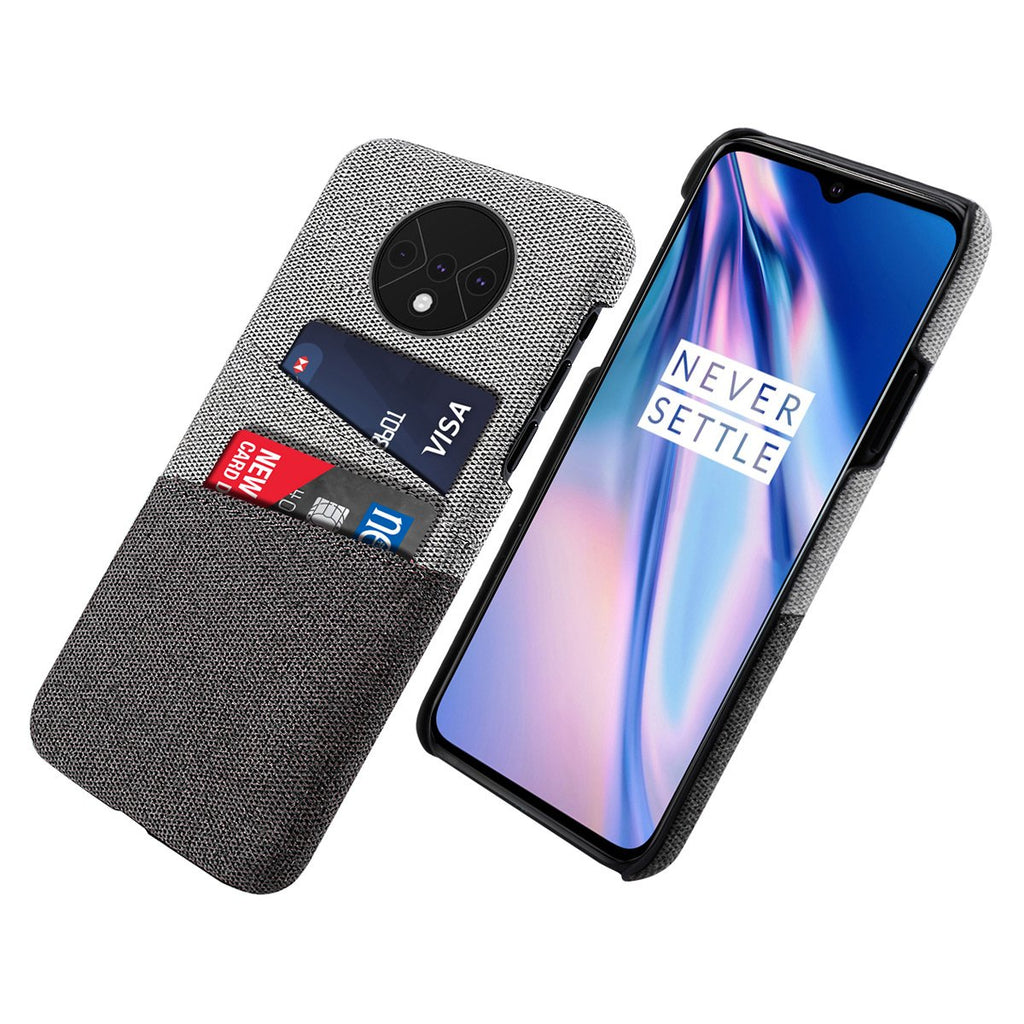 OnePlus 7T Case Fabric Cloth Cover with 2 Cards Slots Ultra Slim PC Phone Case Black
