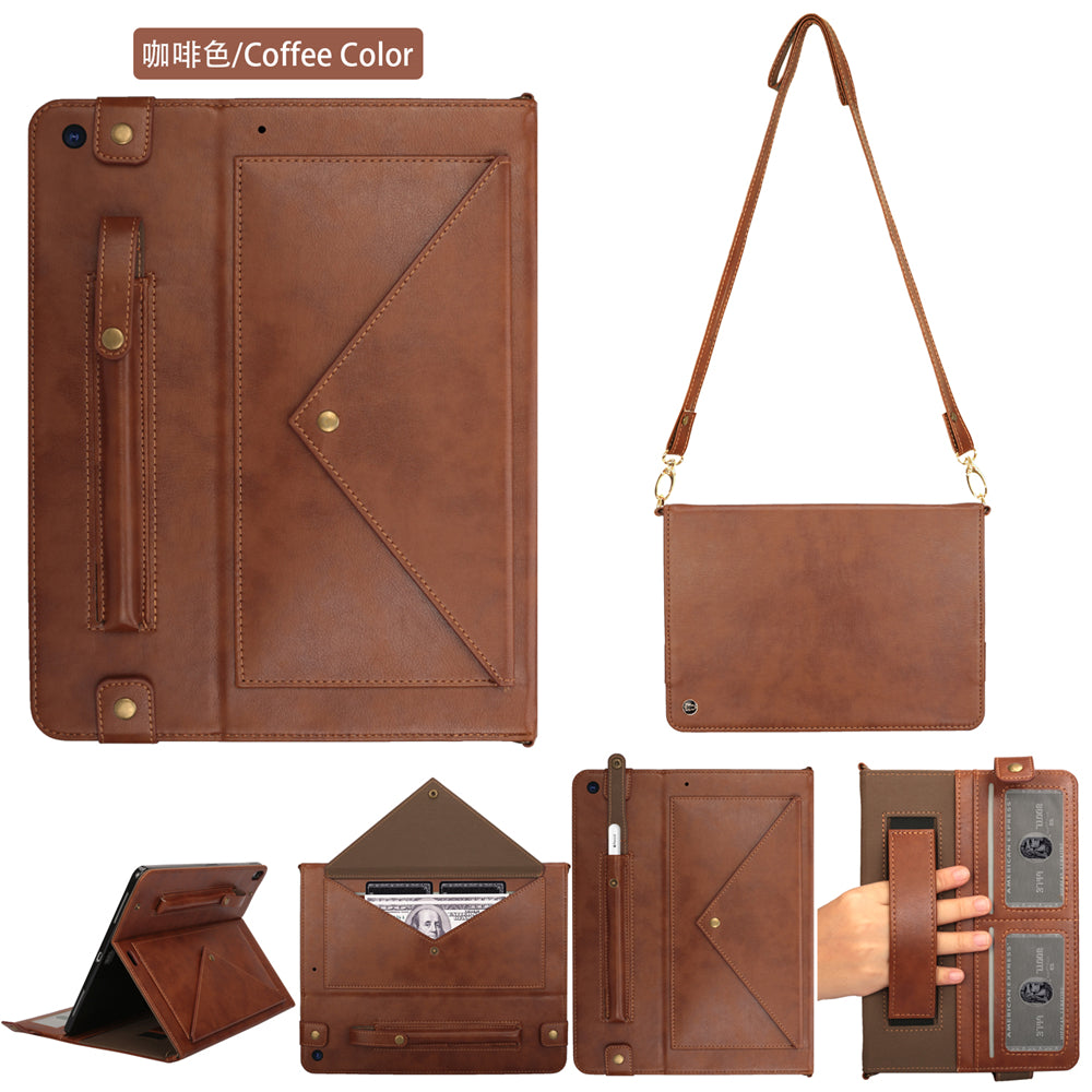 iPad 10.2 Inch 2019 Leather Case Flip Folding Stand Cover with Pen Holder Coffee