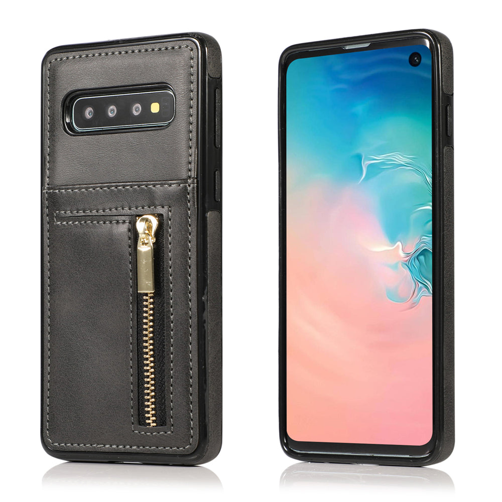 Galaxy S10 Plus wallet phone case with card holder & cash pocket zipple case black