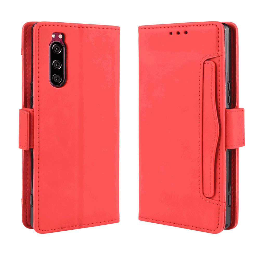 Sony Xperia 5 Wallet Case with Card Cash Holder Full-Body Protective Leather Cover for Women Red