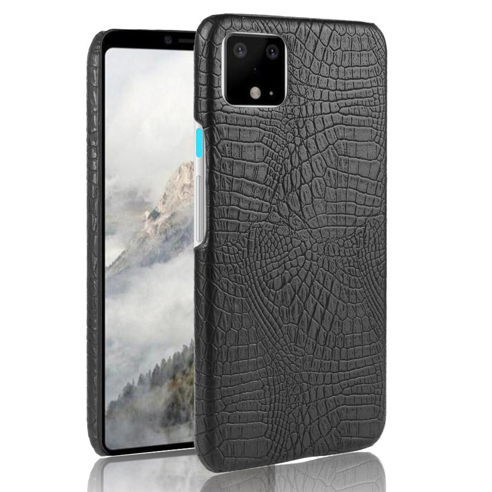 Case for Pixel 4 Crocodile Pattern Thinnest Light Phone Cover PC Hard Shell Black