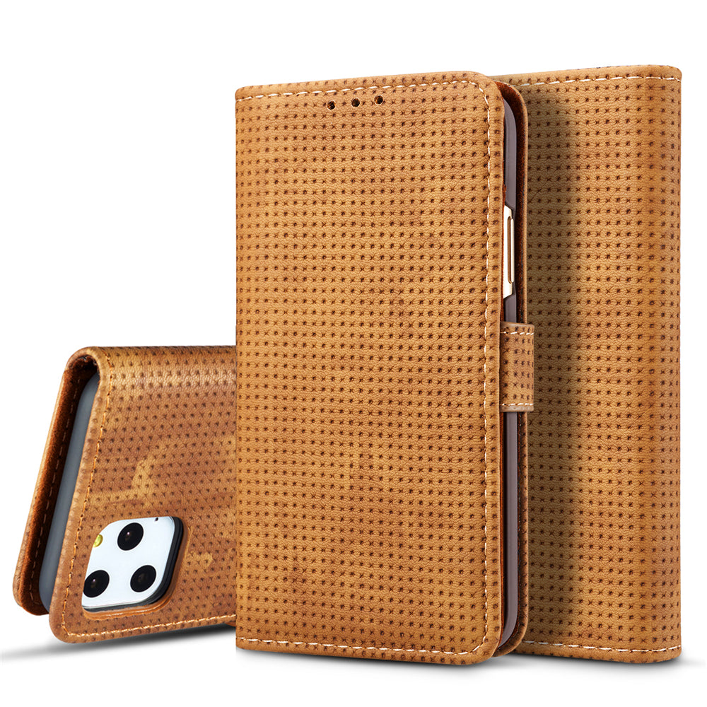iPhone 11 pro Leather Case Magnetic Closure Flip Stand Cover Retro Card Wallet Brown